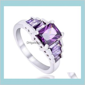 Solitaire Ring Jewelry 925 Sterling Sier Plated Austrian Crystal Wedding White Gold Cubic Zirconia Diamond Sapphire Gemstone Rings Dro