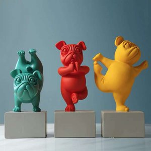 Abstract Hars Yoga Bulldog Dog Picture Sculpture Animal Statue Desktop Craft Home Living Room Ornaments Decoration
