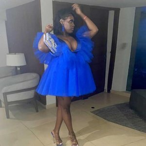 Royal Blue Plus Size Mini Tulle Tutu Dress Deep V Neck Birthday Party Photography Shoot Tulle Gowns Yong Girls Prom DressWear