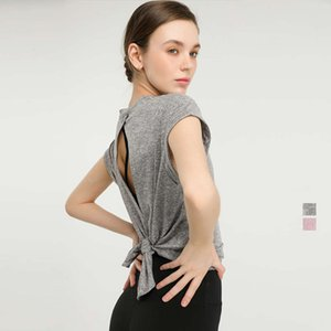 Lulu new temperament quick drying sportswear T-shirt fashion Yoga loose back top running fitness suit female