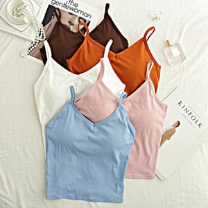 Camisoles & Tanks Women Sexy Casual Vest Bodycon Slim Crop Tops Padded Camis1 MX4T