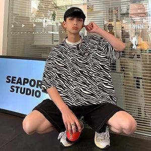 2021 Brand Ins Pi Shuai Zebra Short T-shirt Men's Korean Fashion Couple Fried Street Chic Half Sleeve