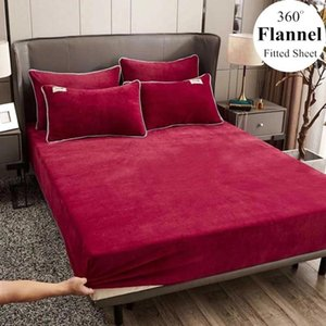 Sheets & Sets WOSTAR Winter Warm Solid Flannel Elastic Band Fitted Sheet Mattress Protector Cover Super Soft King Size Double Bed