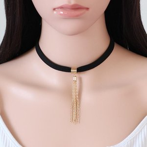 Black Velvet Chokers 2Colors Fashion Accessories Punk Tassel Pendant Round Chain Choker Necklace For Couple Lovers Jewelry