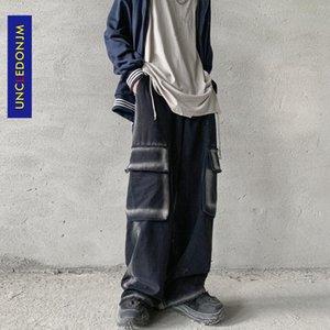대형 포켓화물 바지 남자 일본 패션 망가 착용 바지 의류 Harem An-2058 남자