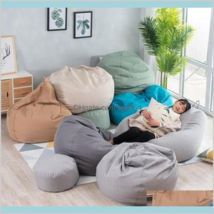Chair Covers & Sashes Home Textiles Garden Bean Bag Sofa Cover No Filler Living Room Bedroom Bed Lazy Casual Tatami Beanbag Couch Cove