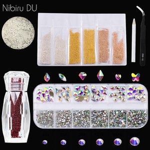Tırnak Rhinestones Havyar Boncuk Araçları Ile Çok Şekilli Kristaller Mikro Boncuk 3D Çiviler Sanat Süslemeleri Kitleri