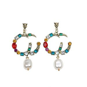 Women Vintage Studs American Indian Elements Stud Fashion Classic Baroque Pearl Pendant Crystal Rhinestone Eardrop Personality Exaggeration Letter Earring