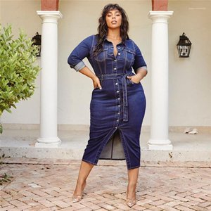 Office Damen Casual Denim Kleid Sommer Langarm Hemd Kleid Plus Size Womens Designer Kleid Luxus