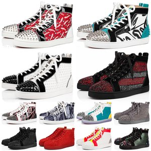 red bottoms con caja 2020 zapatos de fondo rojo para hombre, mujer, talla 5-13, plataforma de diseñador, zapatos casuales planos, zapatillas de deporte de moda con fondo rojo,