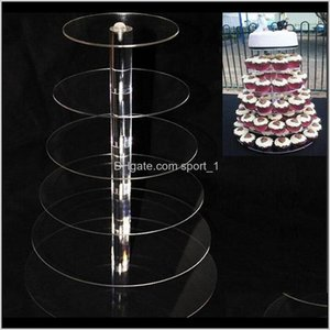 Bakeware Kitchen Dining Bar Home Garden Drop Delivery 2021 6 Tier Acrylic Stand Round Stands For Wedding Party Cake Display Decoration Cupcak