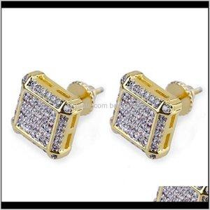 Stud Earrings For Men Iced Out Cz Diamond Zirconia Earring Womens Ear Ring Earing Man Hip Hop Hiphop Jewelry Male Fashion Jewellery Qr Qrv86