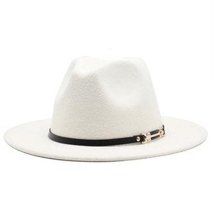 Men Women Wide Rim Woilt Jazz Fedora Hats British Style Trilby Party Formula Cap Black Yellow white Drs Hat 56-61 Cm