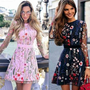 New Style Mesh Patchwork Pink Flowers See Through Short Dress Birthday Party Celebrate Dress Nightclub Women Embroidery Dress 210409