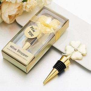 Lucky Clover Wine Bottle Stopper Four Leaf Clover Red Wine Metal Stoppers Wedding Favor Birthday Gift CYZ3104