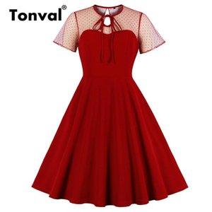 Tonval пунктирной сетки галстука шеи элегантное вечеринка летнее платье женщины 2021 карманная сторона линия винтаж плюс платья в размере