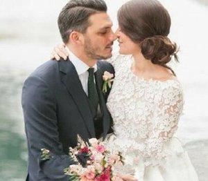 Скромные короткие с длинным рукавом кружева свадебные платья 2021 Современные свадебные платья Scoop a Линейный сад сатин до колена длина модный
