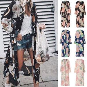 Est Womens Loose Blouses Summer Chiffon Shawl Kimono Long Sleeve Cardigan Sun Protection Tops