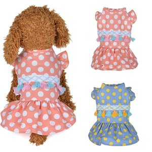 Cotton Pet Clothes Cute Dot Pattern Dress T-shirts Lovers Suit Small Medium Cat Dog Supplies Skirts Apparel