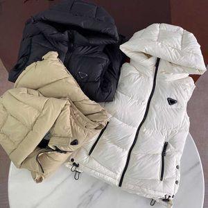 Frauenwesten Jacken Mode kurze Kapuzenweste Langstil Slim Top Reißverschluss Outwear Windjacke-Tasche Outsize Dame Warme Mäntel S-L