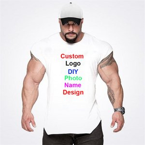 Your Own Design Brand  picture Custom Mens Diy Cotton Tank Top Bodybuilding Sleeveless Shirt Gym Fitness Training Clothing