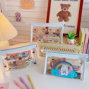 Pencil Cases Kawaii Bear Animal Transparent Case For Office Large Capacity Bag Cosmetic Cute Stationery School Supplies