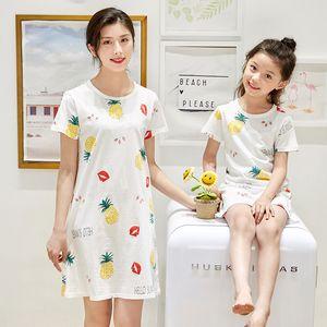 Summer Girls 100% Cotton Nightgowns Pajama Mother Kids Night Dress Cartoon Girl Sleepwear Children Clothes