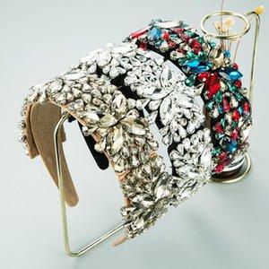 Luxury Full Crystal Rhinestone Hairbands Women Hair Accessories Baroque Padded Head Band Wide Side Headband Princess Headdress