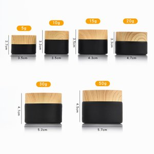 black frosted glass bottle jars cosmetic jars with woodgrain plastic lids PP liner 5g 10g 15g 20g 30 50g lip balm cream containers 903 R2