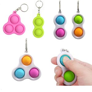 Pop Fidget Finger Bubble Baby Toy Keychain Carabiner Toys Accessories Kids Fashion Anxiety Stress Reliever Board Game Key Pandent LLA652
