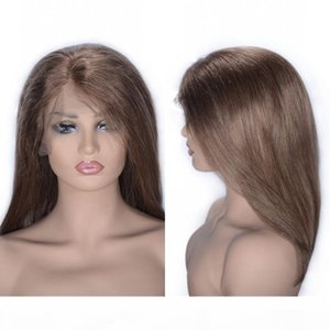 Brazilian Straight Wig 6# Human Hair Glueless Lace Front Wigs 10 inch Short Bob Wigs Swiss Lace Cap Natural Hairline
