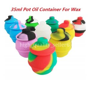 Food Grade 35ml Pot Oil Container not bag For Wax Non-stick Silicone Storage Jar Assorted Color