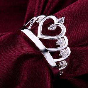Anillos de boda para mujeres reina joyería color plata cristal zircon piedra piedra princesa regalo día de san valentín amor verdadero amor para siempre