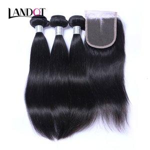 8A кружевное закрытие с 3 пучками Бразильские прямые девственницы Weaves необработанные перуанские малазийские индийские камбоджийские человеческие волосы и замыкания