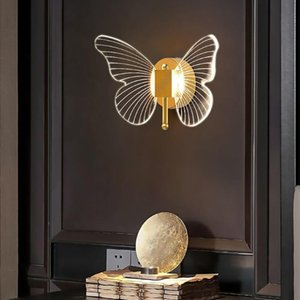 Wall Lamps Nordic LED Butterfly Light Gold Cute Animal Sconce With Acrylic Shade For Bedroom Bathroom Loft Bed Kitchen Kids Room