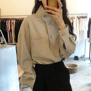 Women's Blouses & Shirts Blusas Mujer De Moda Casual Vintage Autumn Loose Solid Wild Puff Long Sleeve Women Stand Tops Button Up Camisas