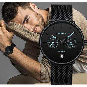 Наручные часы Crrju Mens Watch Мода Тонкий Минималистский Сетчатый Ремешок Наручные Часы для Мужской Кварцевые Спортивные Часы Водонепроницаемый Relogio Masculino 2021