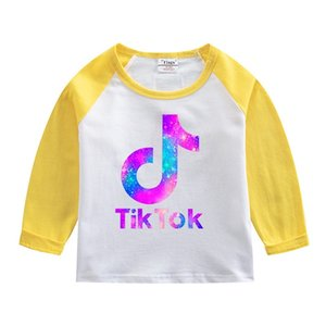 Tik Tok Kids T-shirt 2021 Spring Autumn Tiktok Print Children Long Sleeved Tee Bottoming Shirt Round Neck Patchwork Tops Clothing 7 Colors G4YAPEQ
