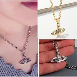 Fashion Party Favor Pendant Necklace diamond Studded Saturn Short Planet Element Collarbone Chain For Woman gifts