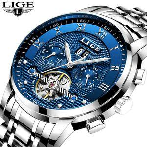 Lige Mens Часы Верхняя Бренд Роскошные Автоматические механические Часы Мужчины Полная сталь Бизнес Водонепроницаемые Спортивные Часы Relogio Masculino Q0524