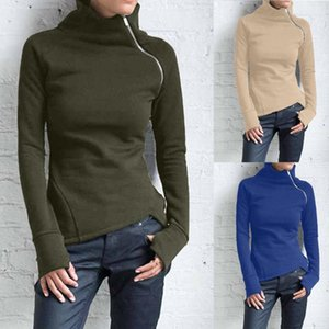 Women Solid Blouse Casual Female Long Sleeve Pullover Turtleneck Zipper Sweatshirt Tops Office Clothes #D1 Women's Blouses & Shirts