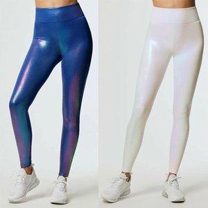 Mujeres Coloridas Flash Leggings Alta Cintura Push Up Fitness Legging Sexy Elastic Leggins Femenino Slim