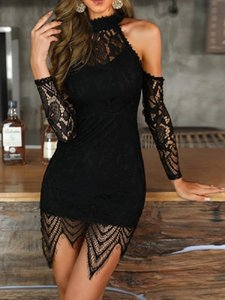 Ladies Casual Dresses French skinny see-through strapless sexy long-sleeved irregular tassel womens summer Bing dress