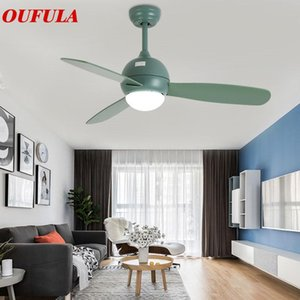 Modern Ceiling Fan Lights Green Lamps Contemporary Remote Control Lighting Dining Room Restaurant Fashional Fans