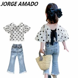 2020 Summer New Girl Sets Baby Girl Polka Dot Shirt+Denim Flare Jeans Fashion 2PCS Outfits Suit Baby Clothes E28001