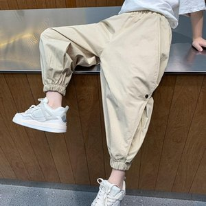 Trousers 2021 Kid Sports Pants Big Boy Cargo Summer Teenage Casual Ankle-length For Boys Clothes Elastic Waist J59