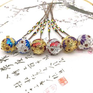 Pure Copper Cloisonne Mobile Phone Chain Sachet Ball Hollowed Out Portable Fragrance with Bell Pendant