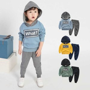 All-match Children's Clothing New Boys Long Sleeve Letter Printing Hoodies Breathable Two-piece Baby Solid Sweater Suit LB193 G0917