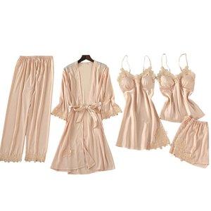 5 Pieces Bridesmaid Gifts Wholesale China Plain Pyjamas Silk Pajamas Usa Plush Premium Sleepwear Set Suppliers Bridal Night Gowns