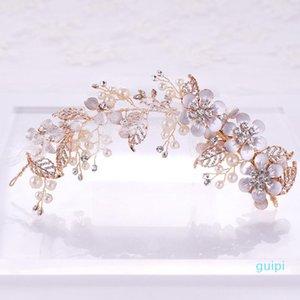 Gold Simulated Pearl Rhinestone Flower Bride Hairpins Headpiece Handmade Bridal Hair Pins Hair Jewelry Wedding Accessories VL
